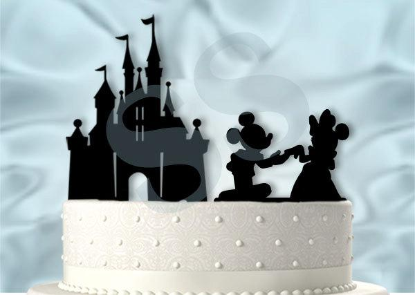 Wedding - Mickey and Minnie Proposing at the Castle Wedding Cake Topper