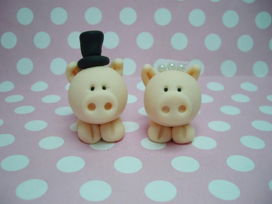 Mariage - Polymer Clay Little Pig Wedding Cake Topper