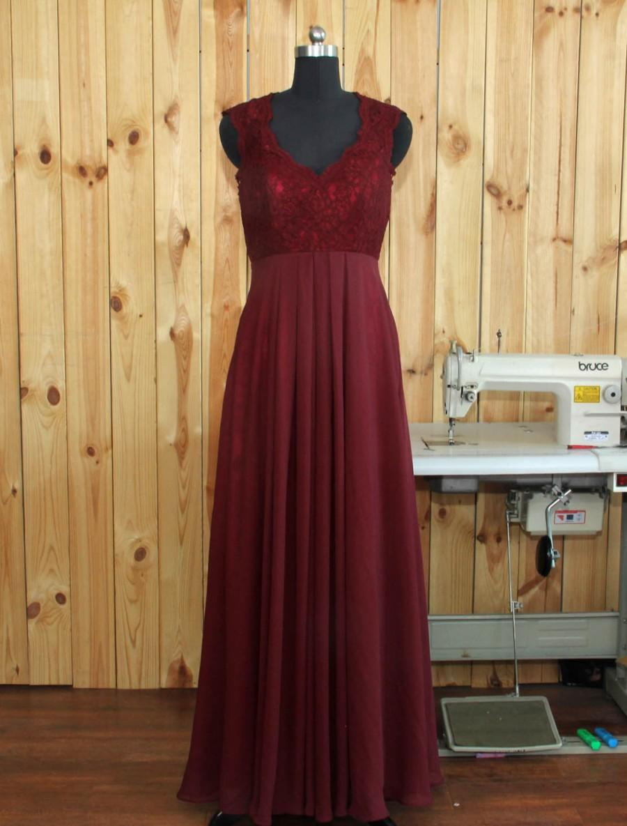 Mariage - 2016Burgundy Bridesmaid dress, Lace Wedding dress, Double Straps Prom dress, Evening dress floor length