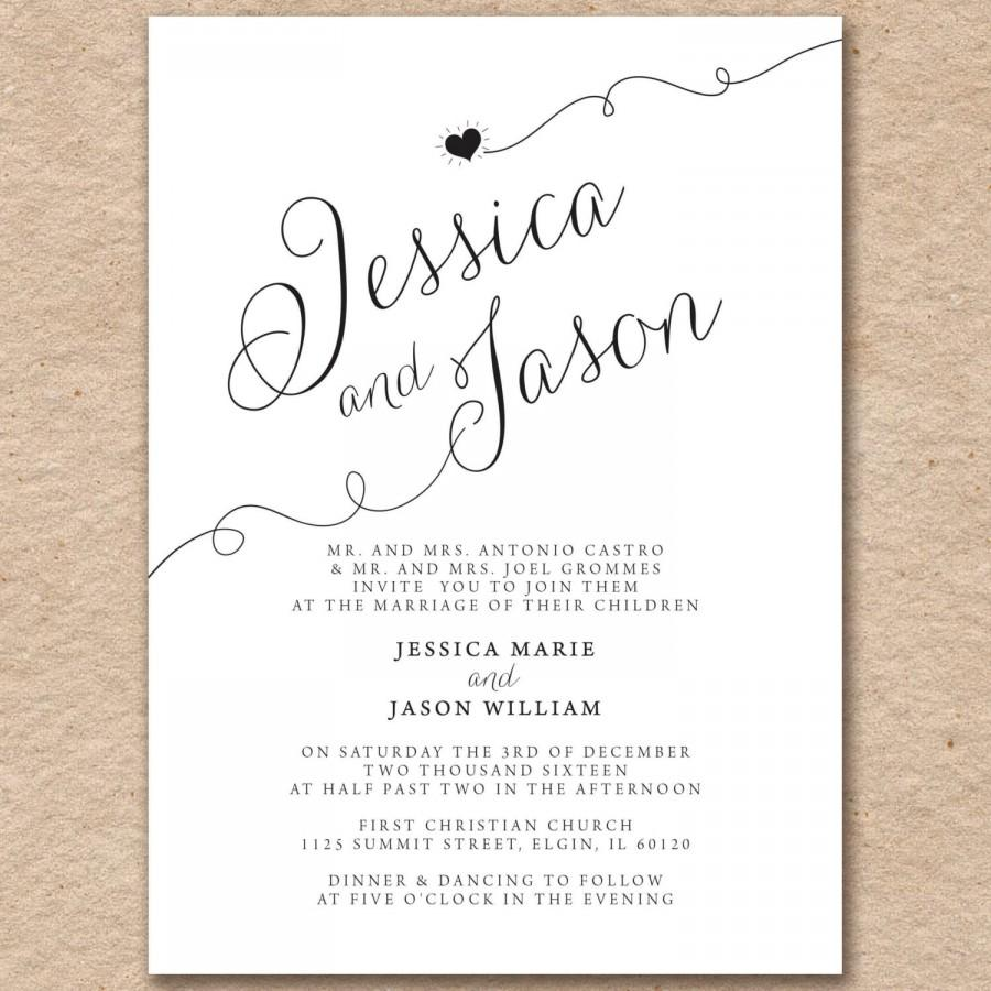 Wedding Invitations Modern Elegant Printed On Pearlized Latte Or