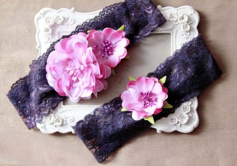 e3a0ae571bc Wedding Garter Set Bridal Garter Belt - Purple Eggplant Plum Flower Garters  Belts- Rustic Wedding Boho Bridal Flowers Garters Prom Garter
