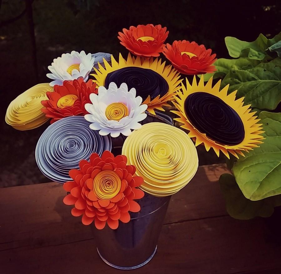 Paper flower bouquet bouquet of sunflowers orange daisies yellow paper flower bouquet bouquet of sunflowers orange daisies yellow gray rolled paper flowers perfect for mothers day mightylinksfo