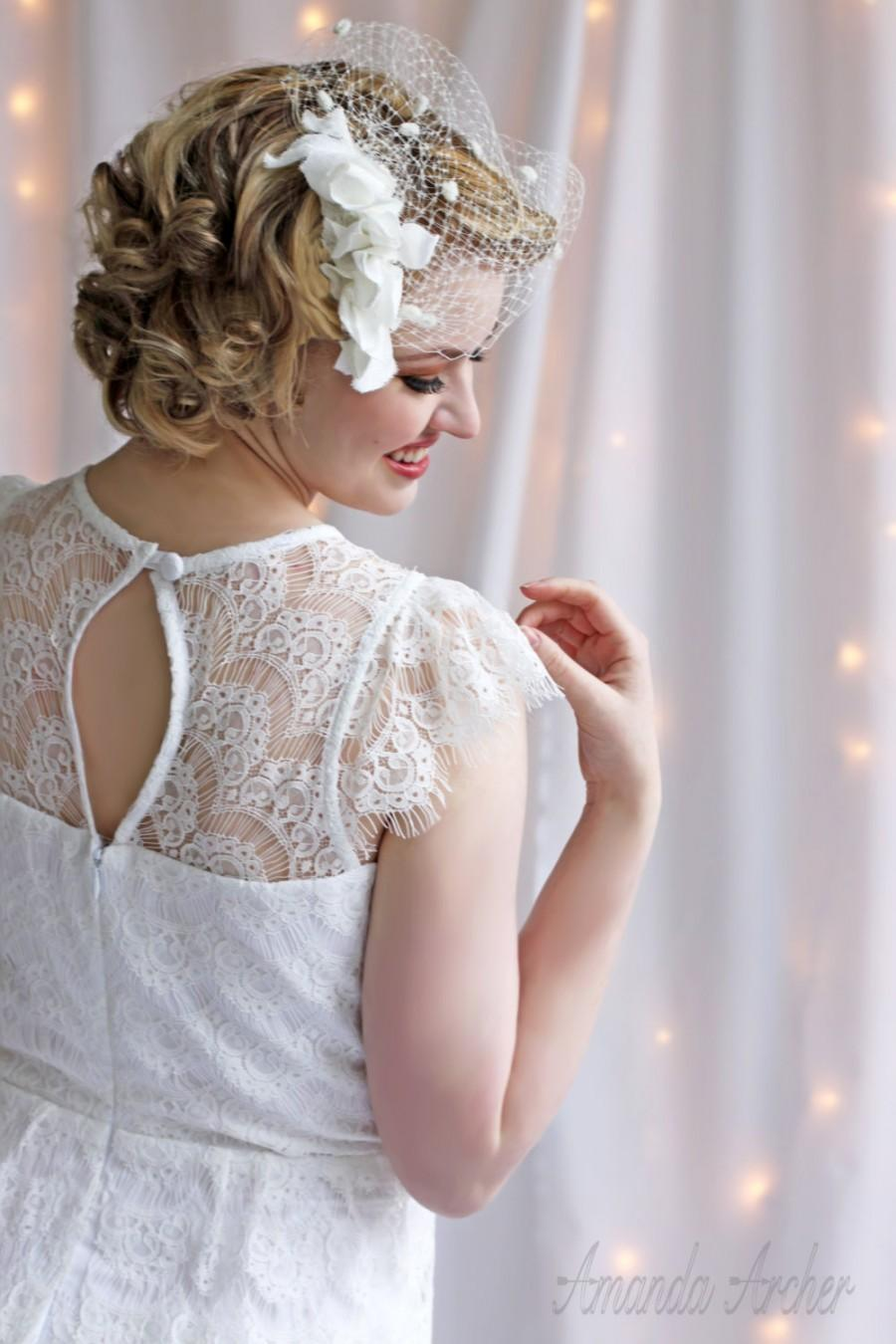Свадьба - Dotted Ivory Birdcage Veil