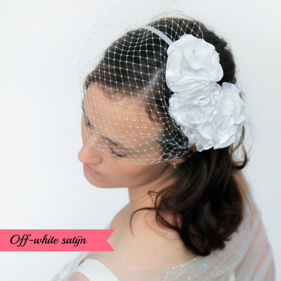 Свадьба - Birdcage veil, flower headband, wedding headband, bridal headband, bridal headpiece, wedding veil, hairaccesory, bridal accessory