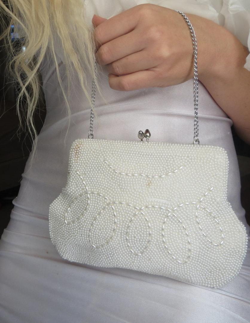 زفاف - Authentic Deco Vintage Clutch - purse handbag formal white beaded Beach Vintage Inspired wedding Bridal rustic wedding handmade