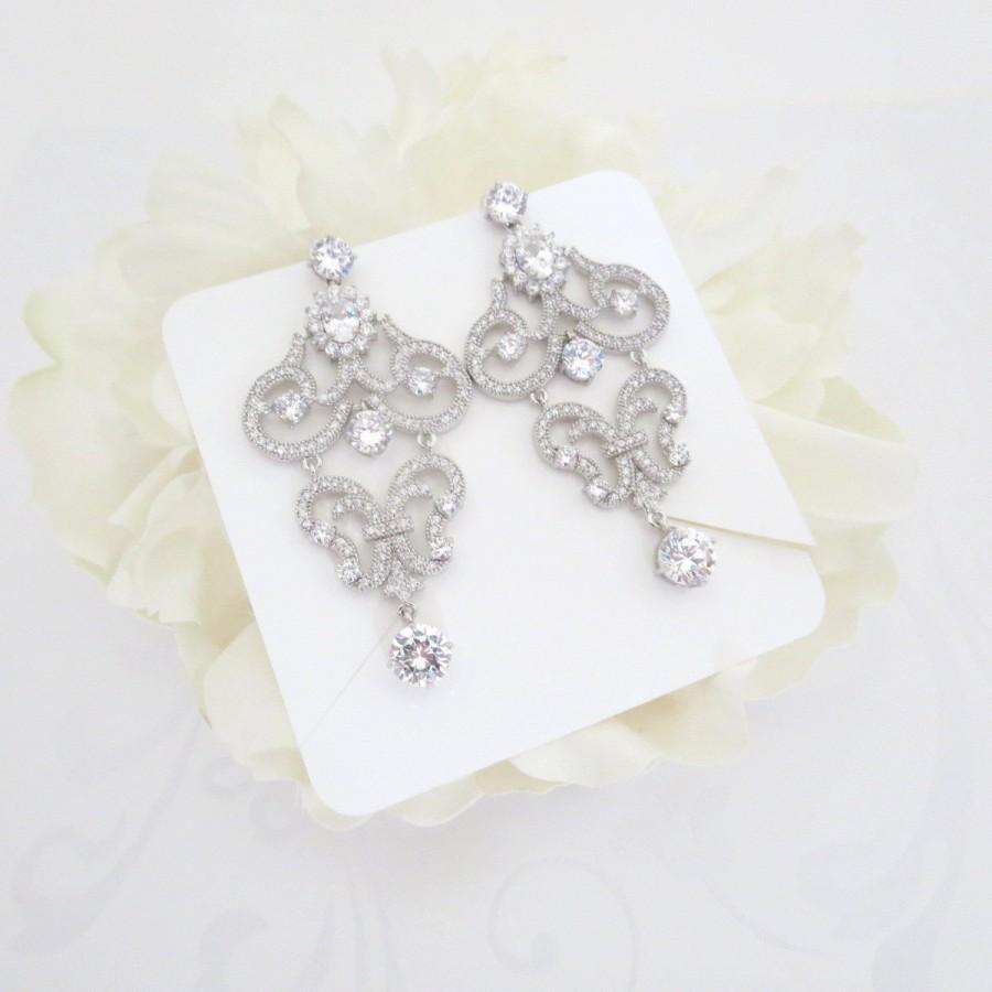 Mariage - Crystal Bridal earrings, Chandelier Wedding earrings, Wedding jewelry, Chandelier earrings, Statement earrings, CZ earrings, Vintage style