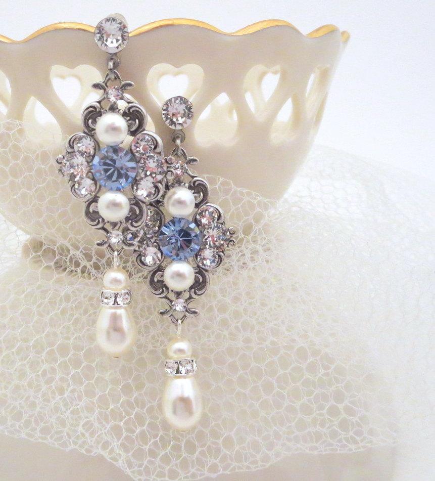 Sapphire Blue Bridal Earrings, Crystal Wedding Earrings, Pearl Wedding  Jewelry, Light Blue Earrings, Vintage Style Earrings, Ashlyn