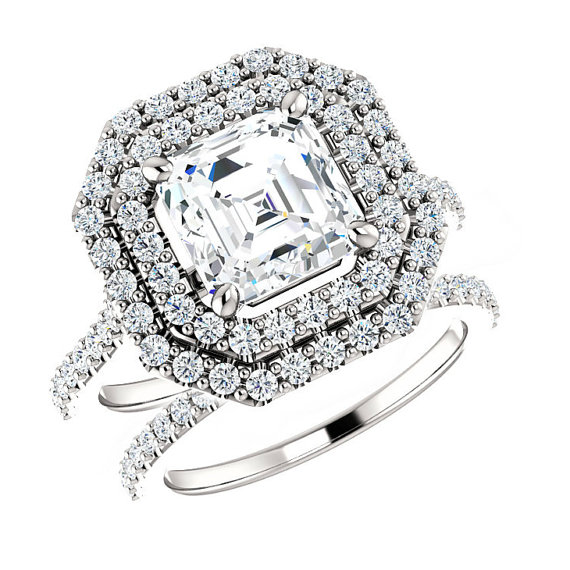 6 5mm 1 25 Ct Asscher Forever e Moissanite & 0 91 Ct Diamond Bridal