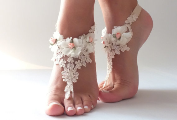 5ca6f8f80 Free Ship Champagne Ivory Lace Barefoot Sandals