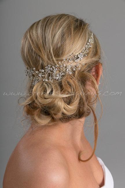 Hochzeit - Boho Rhinestone Hair Vine, Bridal Headband, Bridal Hair Vine, Rhinestone Headpiece - Miriam