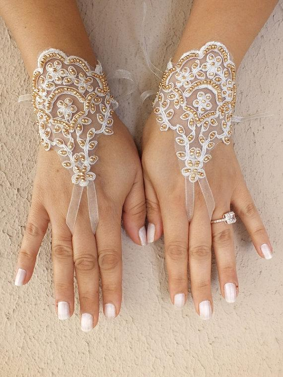 Hochzeit - Free ship, Bridal Gloves, Wedding Gloves, Ivory gold beaded Lace gloves, Fingerless Gloves, wedding, cuffs, wedding cuffs, bride,