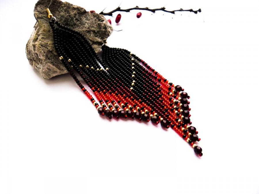 Wedding - black earrings red gold earrings Native earrings long earrings Beaded Earrings Colorful earrings gift for her Native Style halloween earring