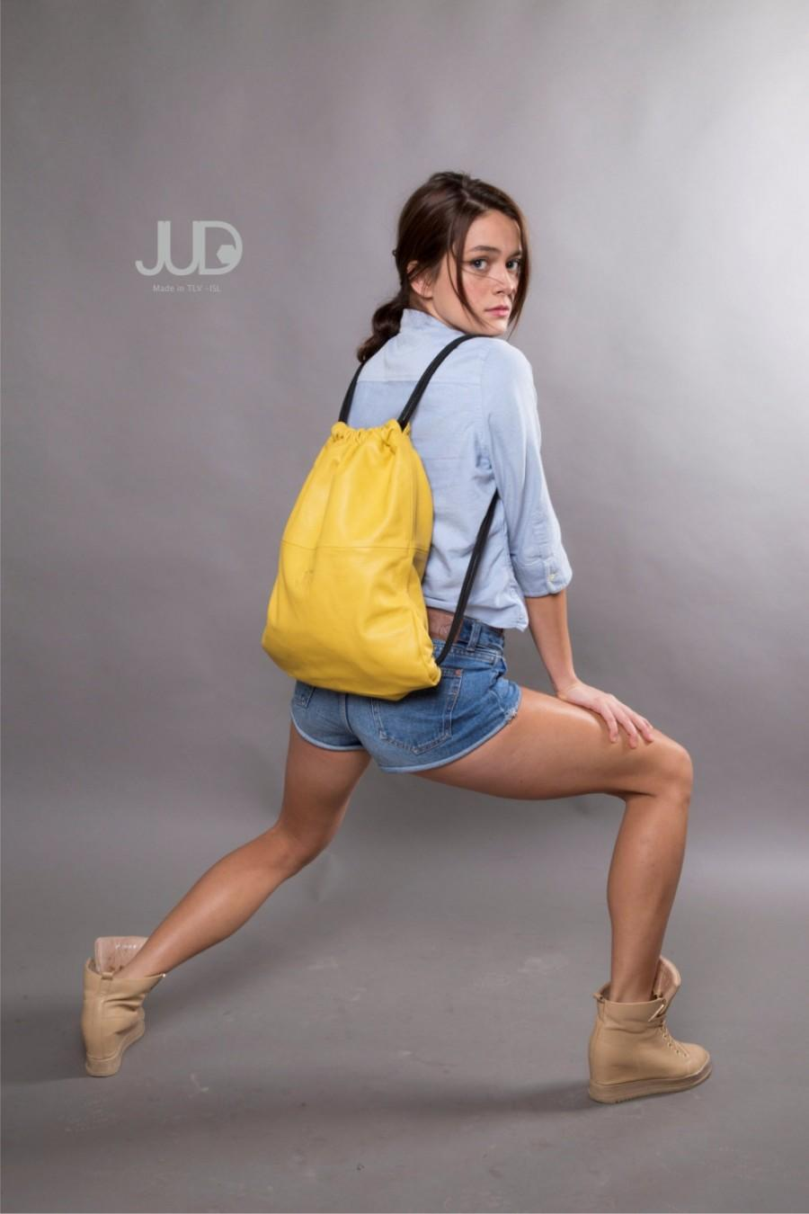 Wedding - Yellow leather backpack purse - multi leather back bag SALE women leather bag - backpacks - leather shoulder bag woman bags leather satchel