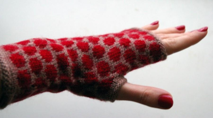 Wedding - Fingerless Gloves With Polka Dots - Beige and Red Fingerless Gloves- Fashion Gloves - Winter Accesories - Womens Gloves nO 5.