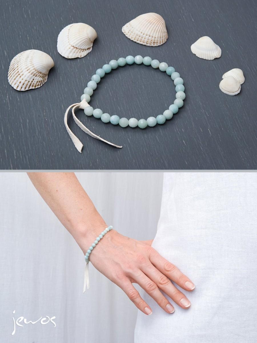 Wedding - Genuine aquamarine bracelet Blue bracelet Gemstone healing bracelet Blue beaded bracelet Something blue Bridal jewellery Stretch bracelet