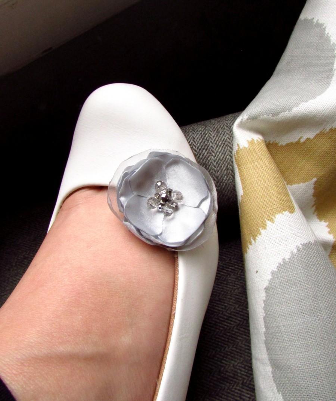 Wedding - Wedding Shoe Accessories, Platinum Silver Bridal Shoe Clip on Flowers for Shoes, Silk Satin Flower Shoe Clips, Light Gray Bridesmaid Shoe