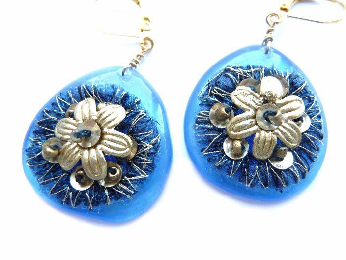 Wedding - Blue Earrings, Blue Gold Earrings, Floral Earrings, Flower Earrings, Gold Flower, Golden Flower Earrings, Gold Blue Earrings, Teardrop