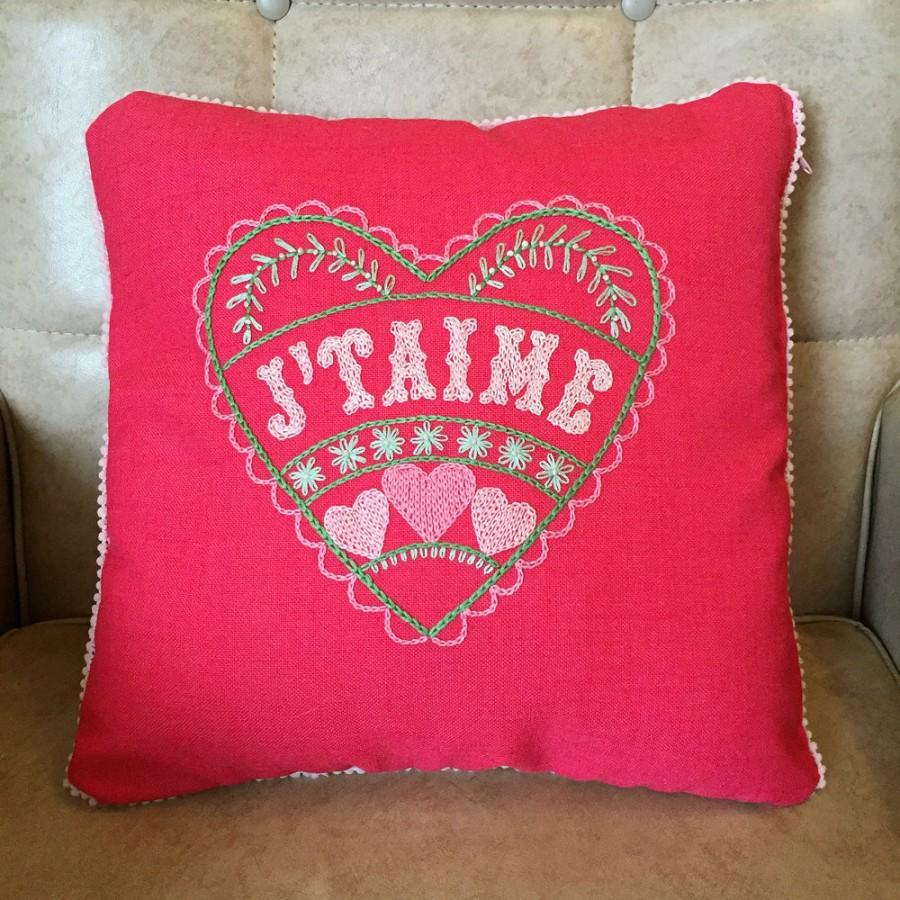 Hochzeit - Folk Art style Hand Embroidered J'Taime Love Heart Pillow for Wedding Engagement Gift