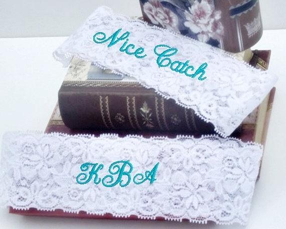 Wedding - Bride's Garter, Wedding Garter Personalized, Custom, Embroidered Monogram Lace Garter