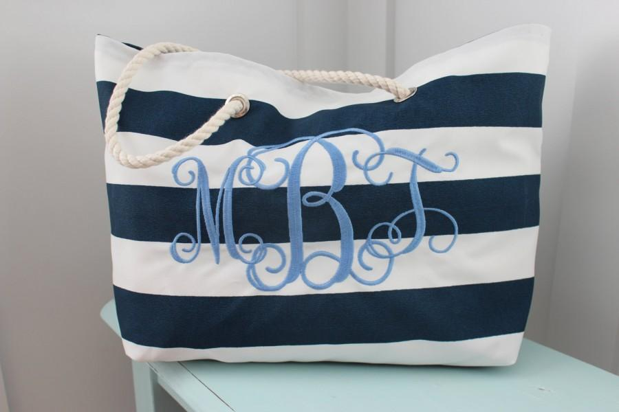 Wedding - Bride Bag -  Monogrammed Beach Bag - Bridesmaid Gift  - Pool Bag - Personalized Bag - Bridal Shower - Teacher Bag - Destination Wedding