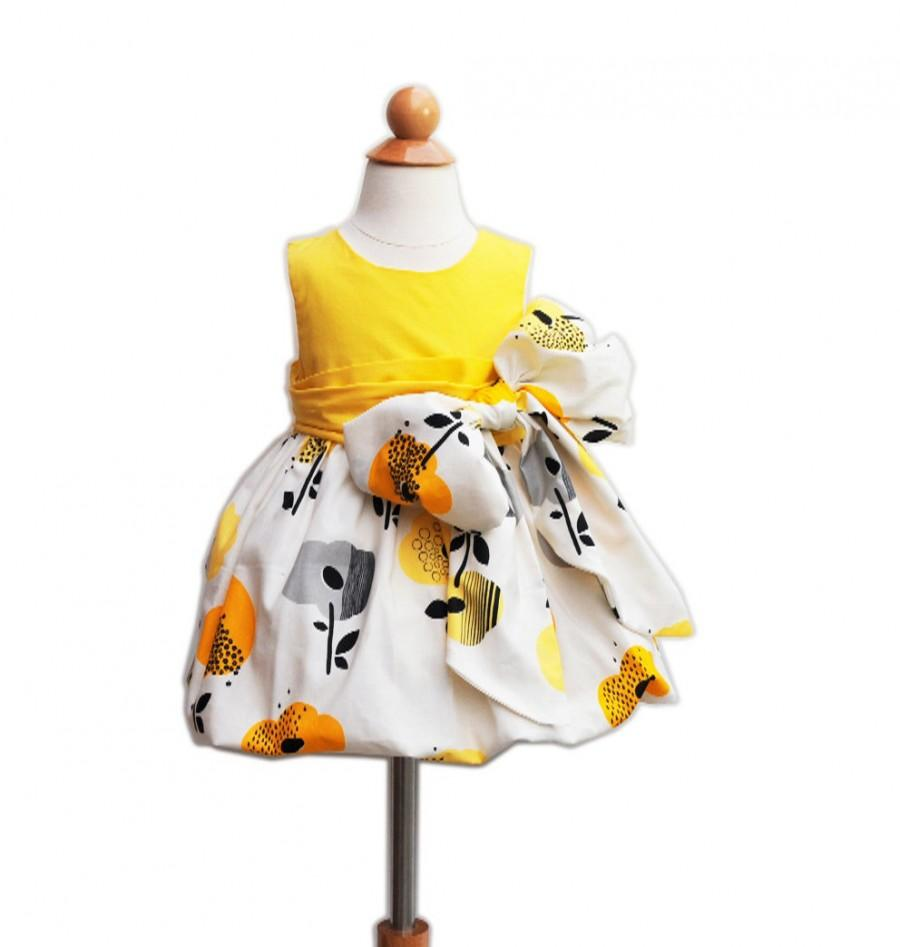Boda - Special Ceremony Dress - With Large Bow Bash - Wedding - Formal - Baby Clothing - Birthday Photo - Baptism - KK Children Designs - 6M to 7