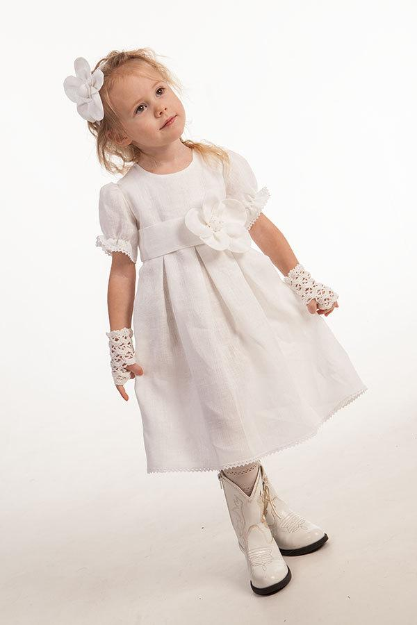 Wedding - Girl linen dress Flower girl dress Baby girl baptism dress Wedding party girl dress First birthday dress Girl white dress Christening dress