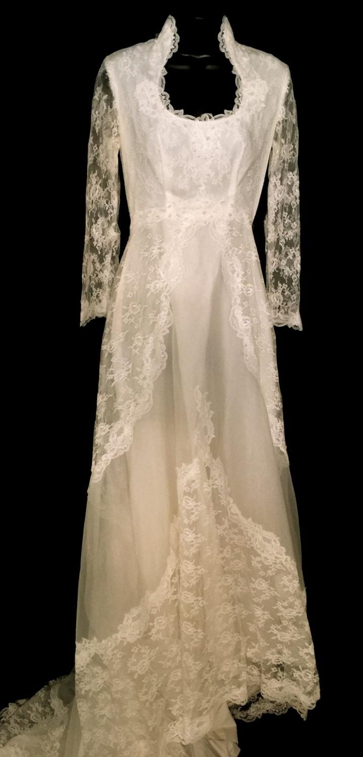 Wedding - Vintage 70's Candlelight White Wedding Gown  VG162