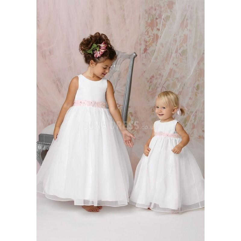 Wedding - Satin & Organza Ball Gown With Sash Floor Length Jewel Flower Girl Dress - Compelling Wedding Dresses