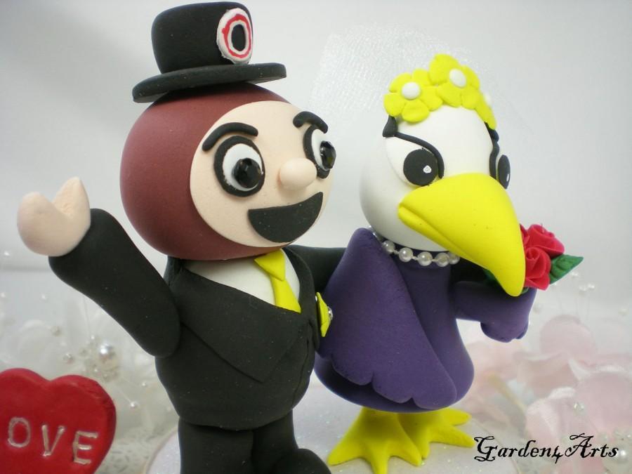 Свадьба - NEW--Custom College Mascot Wedding Cake Topper--Love Ohio State Brutus  & Ashland Eagles with Circle Clear Base