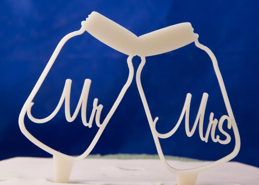 Свадьба - Toasting Mason Jars Wedding Cake Topper - Mr. and Mrs. inside toasting mason jars cake topper - mason jar wedding cake topper