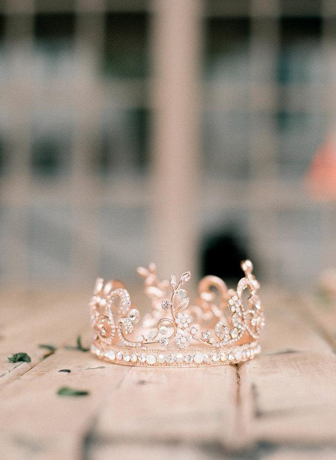 Wedding - Rose Gold Tiara Crystal Wedding Tiara Leaf Bridal Crown Wedding Diadem Swarovski Bridal Tiara AURORA TIARA As Seen on Style Me Pretty