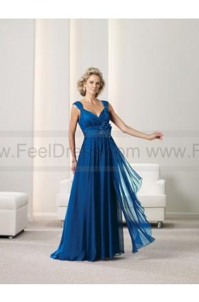 Wedding - A-line Floor-length V-neck Chiffon Royalblue Mother of the Bride Dress