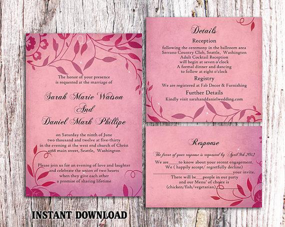 diy rustic wedding invitation template set editable word file download printable invitation fuchsia pink invitation leaf wedding invitation