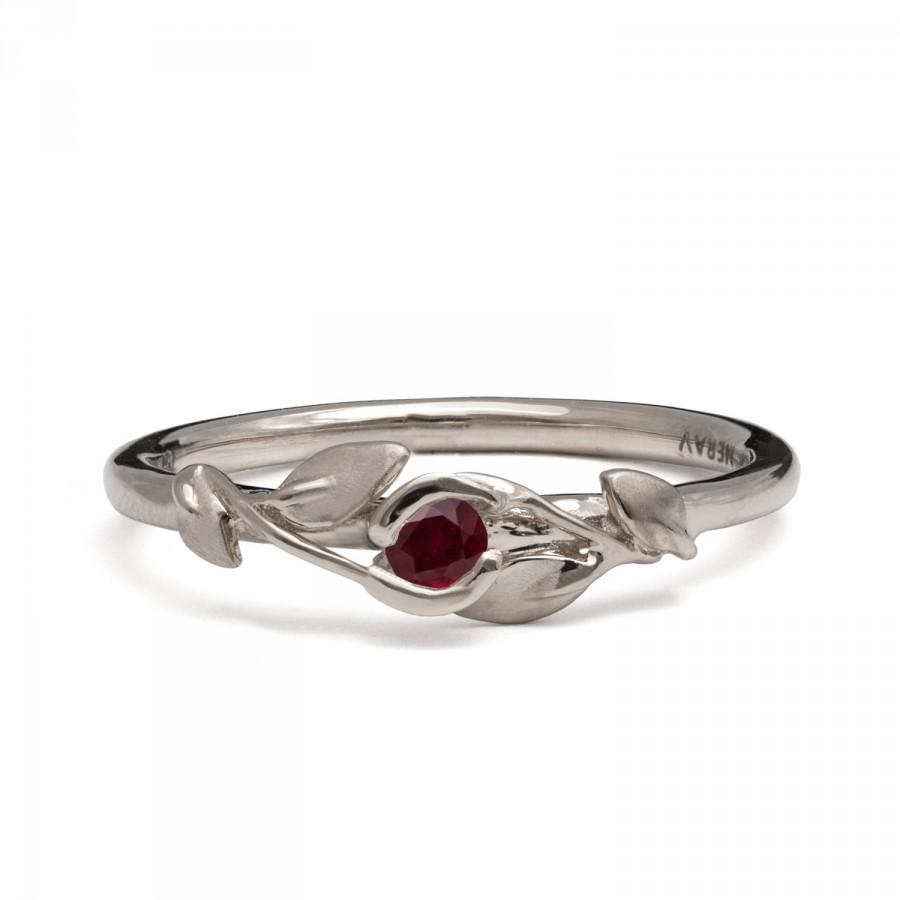 Ruby Flower Ring 14k White Gold And Ruby Engagement Ruby Leaves
