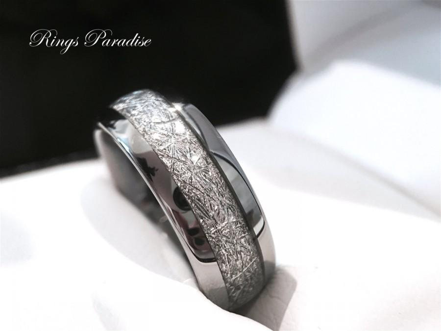 Tungsten Wedding Bands 6mmamp 8mm Imitated Meteorite Inlay Ring Engagement Gifts Engagement