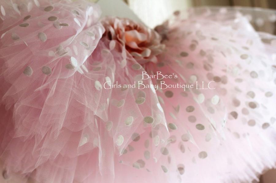 زفاف - White Polka Dot with Pink Tule Tutu, Flower Girl, wedding, photo prop, birthday, girls tutu