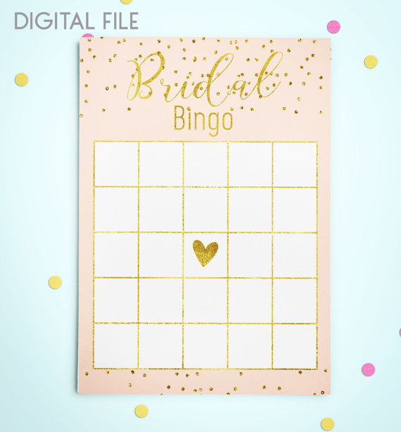 bingo game download bridal bingo gold foil confetti bridal shower bingo pink printable bridal shower bingo game instant download idkbg2