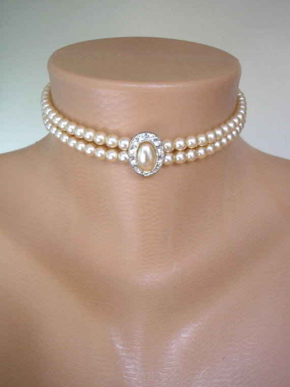 Pearl Choker, Pearl Necklace, Great Gatsby, 2 Strand