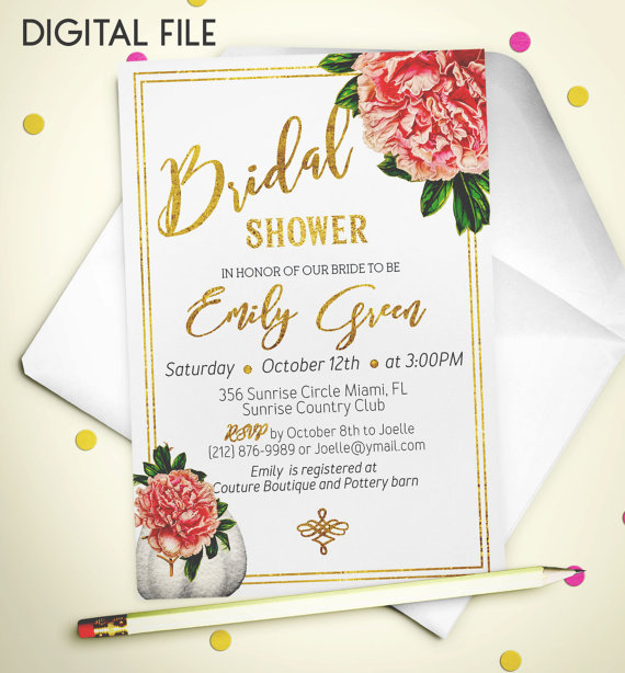 bridal shower invitation romantic printable invite bridal shower foil shower invitation peony pumpkin classic bridal shower invite idb43