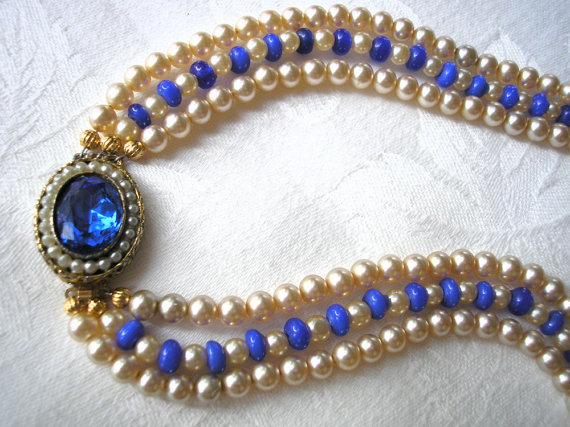 Wedding - Cobalt Blue Necklace, Blue Pearl Choker, Mother of the Bride, Great Gatsby, Statement Necklace, Wedding Necklace, Blue Bridal Jewelry, Deco