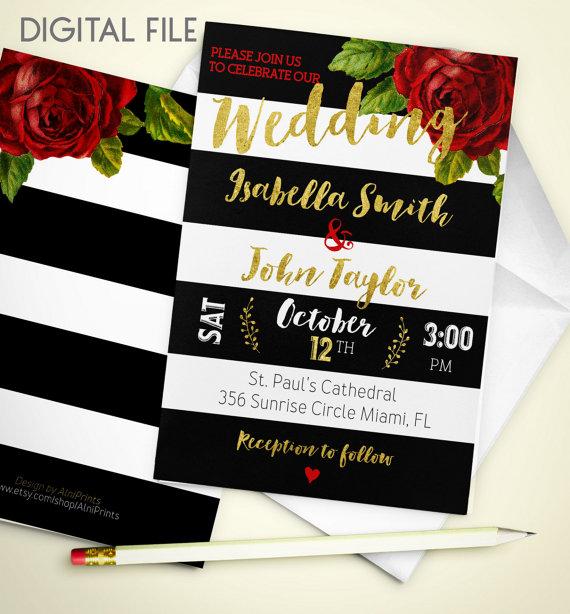 Wedding Invitation Digital Download Printable Red Rose Wedding Invitation  Gold Wedding Stripe Fall Wedding Invitation Invite Idw3