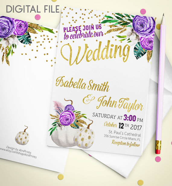 Свадьба - Wedding Invitation Printable pumpkin Wedding Invitation Glitter Confetti Gold Wedding Purple Fall Wedding Invitation Invite idw2