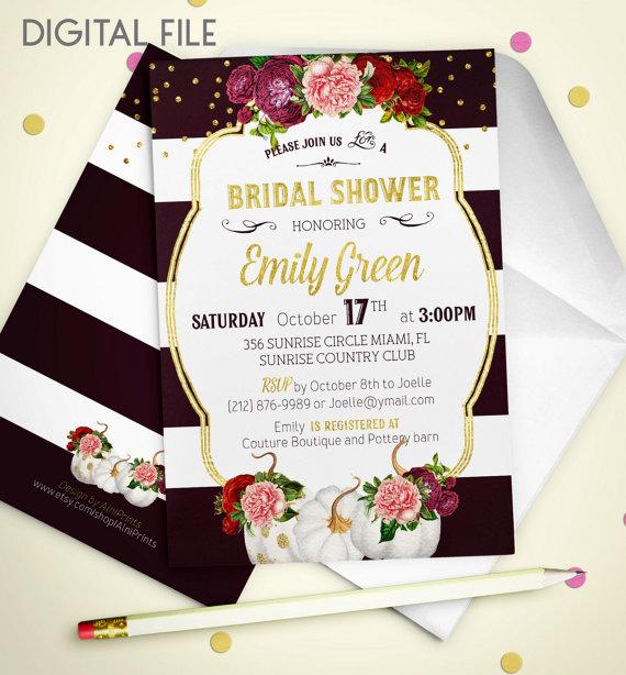 bridal shower invitation fall printable pumpkin bridal shower burgundy gold shower invitation fall in love wine bridal shower invite idb40