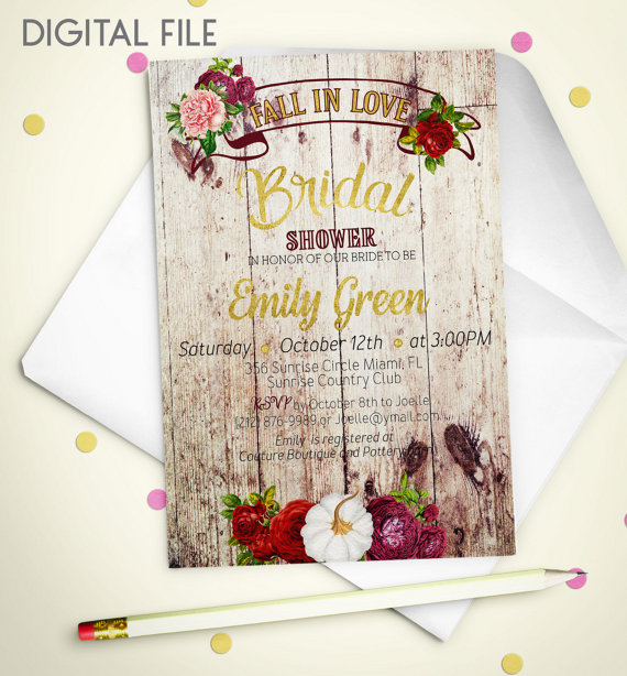 Boda - Fall in love Bridal Shower Invitation Printable pumpkin Bridal Shower Rustic Burgundy Gold Shower Invitation Wine Bridal Shower Invite idb39