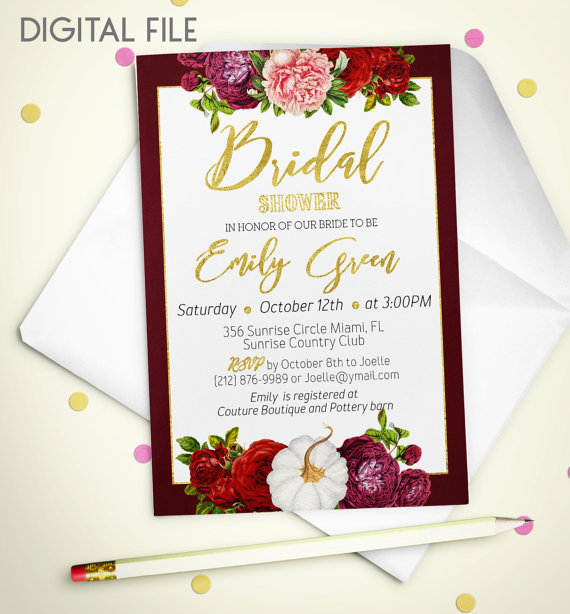 bridal shower invitation printable pumpkin bridal shower burgundy gold shower invitation fall in love wine bridal shower invite idb38