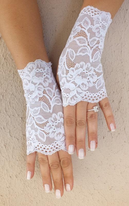 Free Ship White Wedding Gloves French Lace Bridal Fingerless