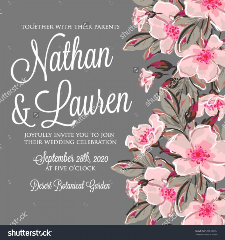 Wedding - Wedding invitation card with romantic flower dog-rose