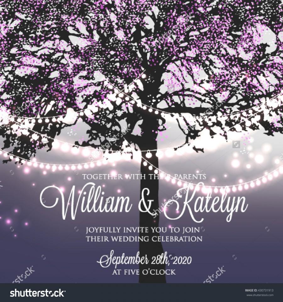Wedding - Wedding invitation with glowing lights on the tree. Garden party invitation. Inspiration card for wedding, date, birthday, tea party