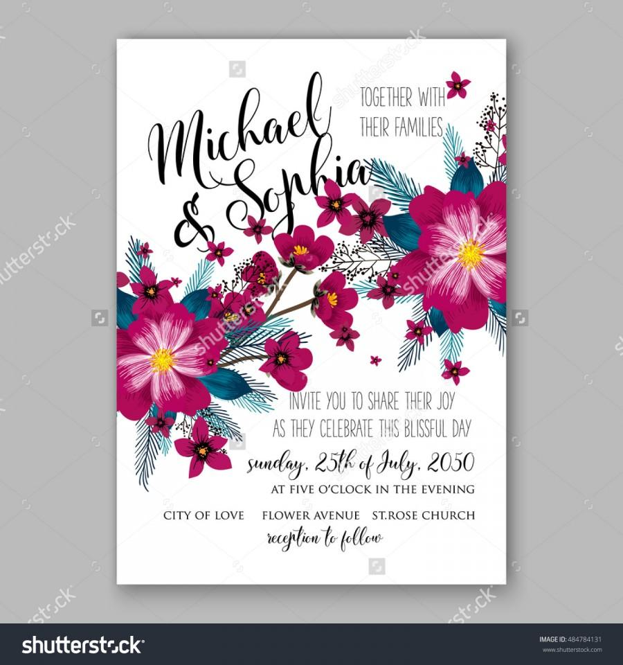 Wedding - Romantic pink peony bouquet bride wedding invitation template design. Winter Christmas wreath of pink flowers and pine and fir branches