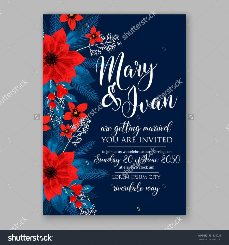 Hochzeit - Winter floral wreath of poinsettia fir thee branch on wooden background Christmas invitation